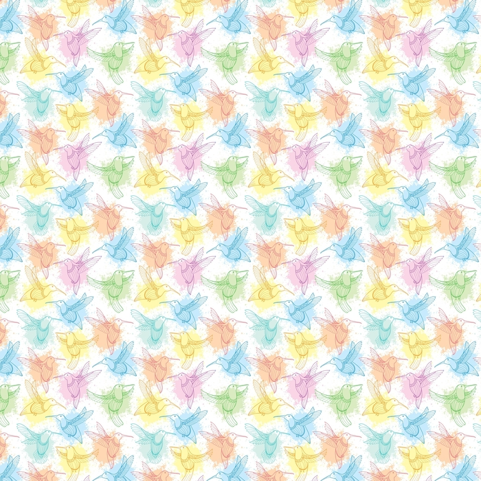 Vector seamless pattern with flying Hummingbird or Colibri in contour style and blots in pastel color on the white background. Elegance background with exotic tropical bird for summer design. Washable custom-made wallpaper - Graphic Resources