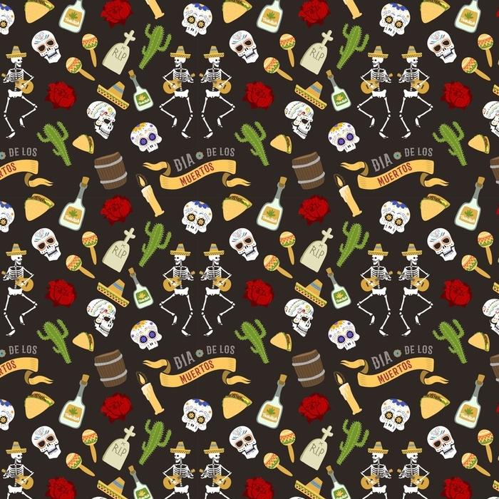 Papier peint lavable sur mesure Symboles colorés pour dia de los muertos jour de la journée morte vecteur de fond transparente - Culture et religion