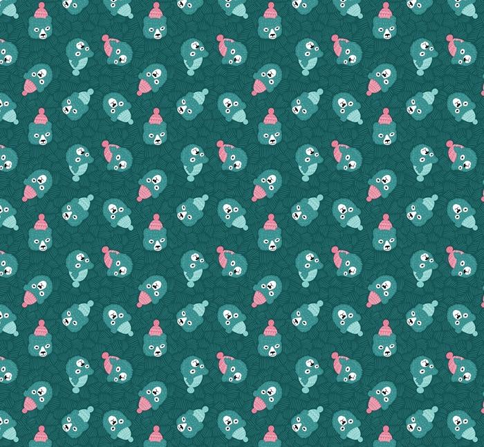 Vector de patrones sin fisuras con cabezas de osos. fondo azul de invierno.