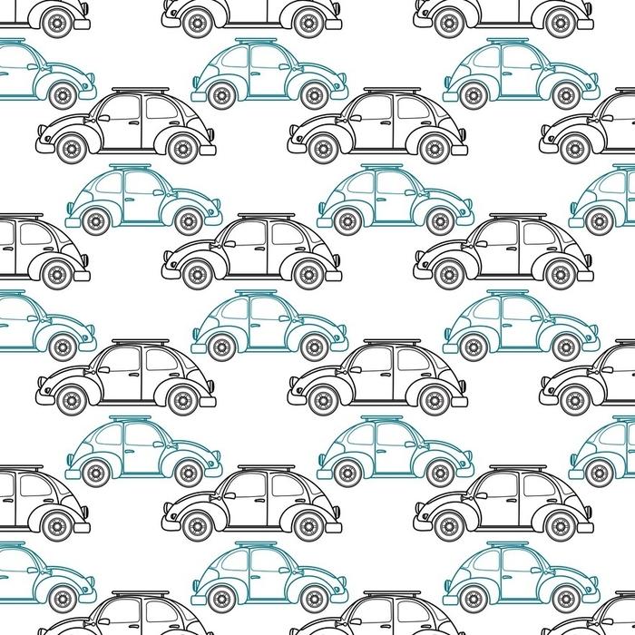 Afwasbaar behang, op maat gemaakt Cartoon retro auto naadloze patroon. vectorillustratie - Grafische Bronnen