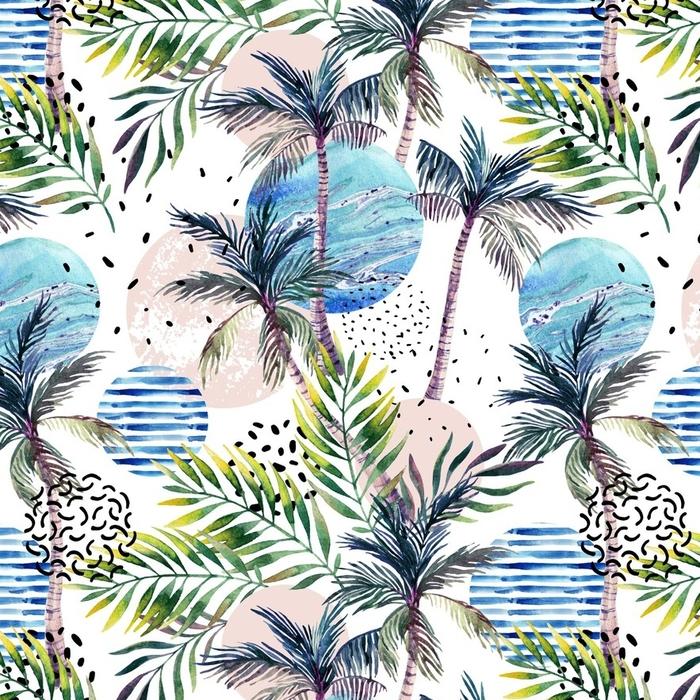 Afwasbaar behang, op maat gemaakt Abstract zomer geometrische naadloze patroon - Bloemen en Planten