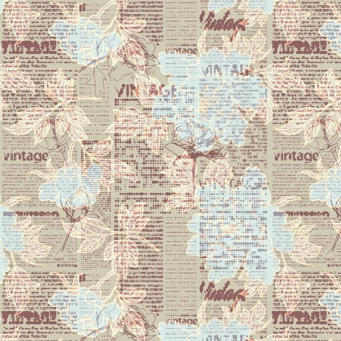 Afwasbaar behang, op maat gemaakt Naadloze achtergrondpatroon. retro grunge patroon met een vintage woorden en schetsen van bloemen. halftone krant. - Grafische Bronnen