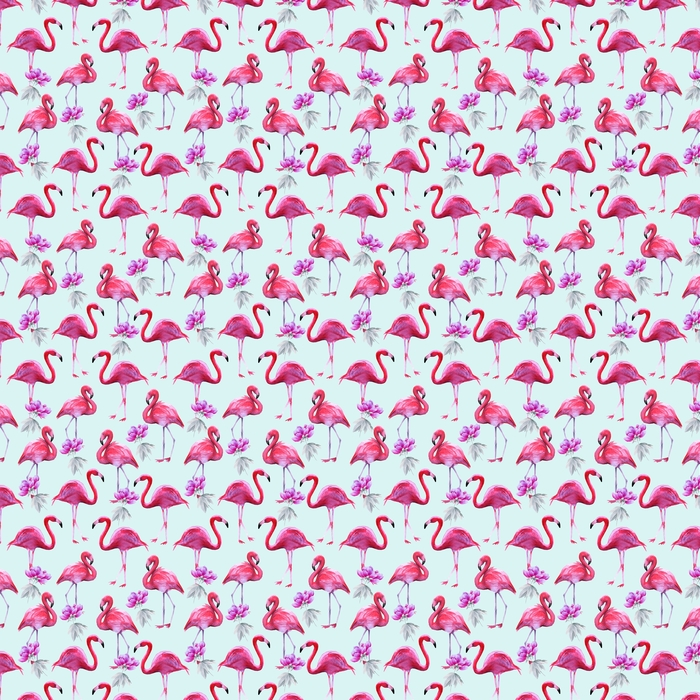 Background of pink flamingos. Seamless pattern. Washable custom-made wallpaper - Hobbies and Leisure