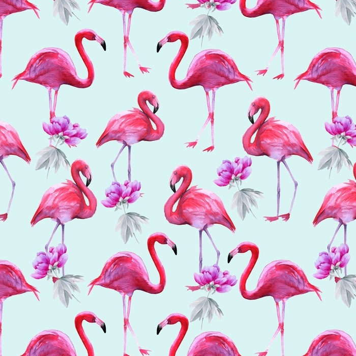 Afwasbaar behang, op maat gemaakt Achtergrond van roze flamingo's. naadloos patroon. - Hobby's en Vrije tijd