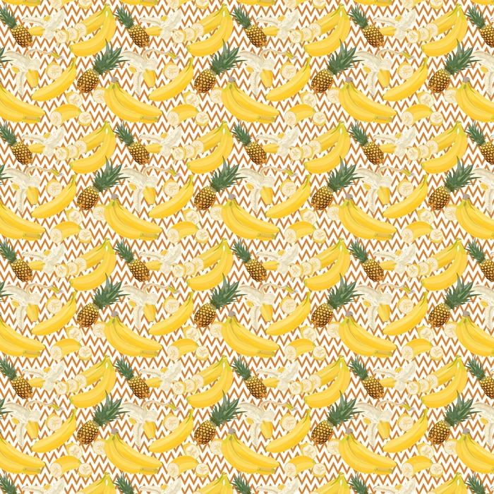 Seamless hand drawn tropical pattern with banana and pineapple fruit on geometric background Washable custom-made wallpaper - Plants and Flowers