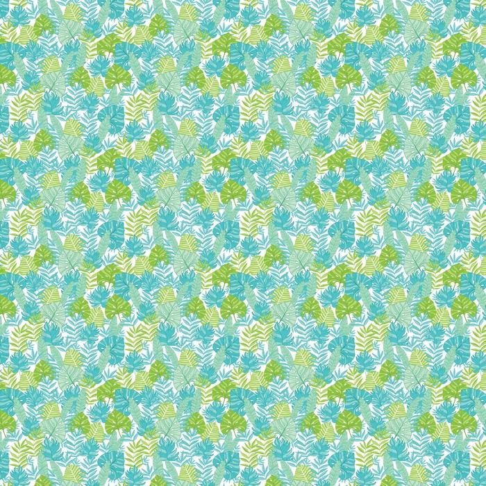 Abwaschbare Tapete Vector blaues grünes tropisches nahtloses Muster des Blattsommers hawaiian mit tropischen Anlagen und Blätter auf Marineblauhintergrund. ideal für Urlaub Themen Stoff, Tapeten, Verpackungen. - Pflanzen und Blumen