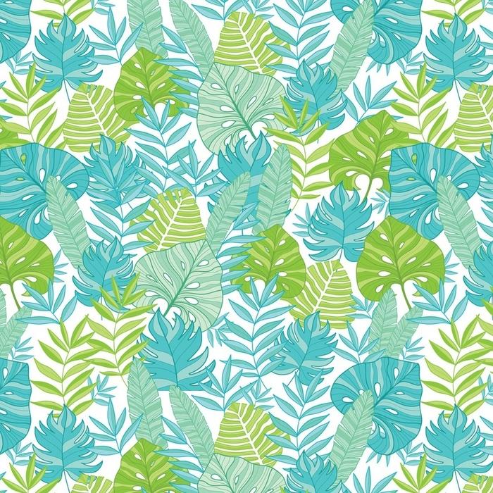 Papier peint lavable sur mesure Vecteur bleu vert feuilles tropicales hawaiian modèle sans couture avec des plantes tropicales et feuilles sur fond bleu marine. Idéal pour les vacances sur le thème du tissu, papier peint, emballage. - Plantes et fleurs