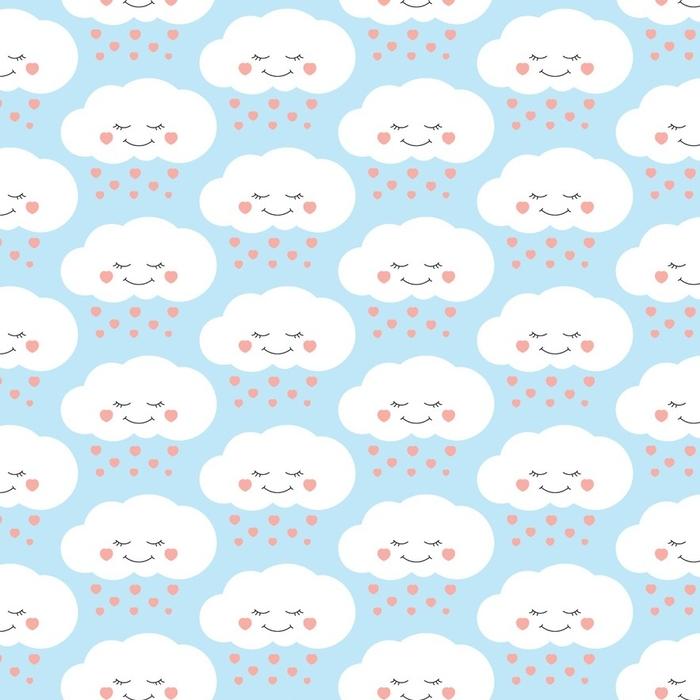 Afwasbaar behang, op maat gemaakt Schattige baby wolk patroon vector naadloos. kinderen drukken met wolken en harten regen op lila achtergrond. ontwerp voor kinderen verjaardagskaart, behang of stof, baby shower uitnodiging sjabloon. - Landschappen