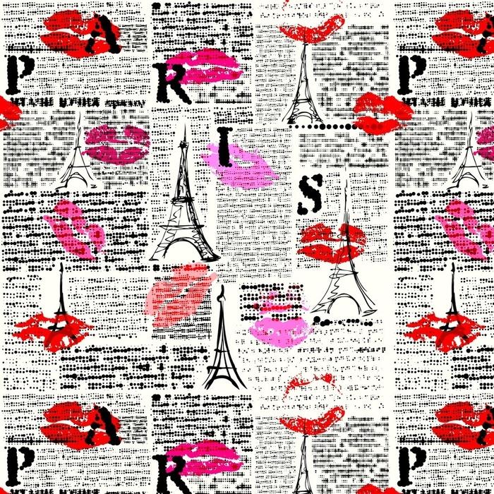 Afwasbaar behang, op maat gemaakt Naadloze achtergrondpatroon. imitatie van een krant met halftone woord van Parijs. - Grafische Bronnen