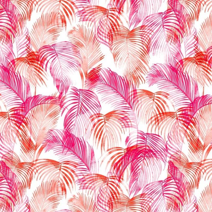 Afwasbaar behang, op maat gemaakt Tropische aquarel patroon. palmbomen en tropische takken in naadloos behang op een witte achtergrond. digitale kunst. kan worden gebruikt voor manufactory en textiel - Bloemen en Planten