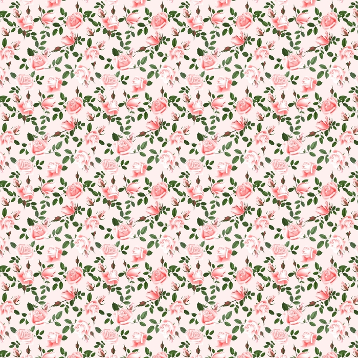 Roses seamless pattern. Washable custom-made wallpaper - Plants and Flowers