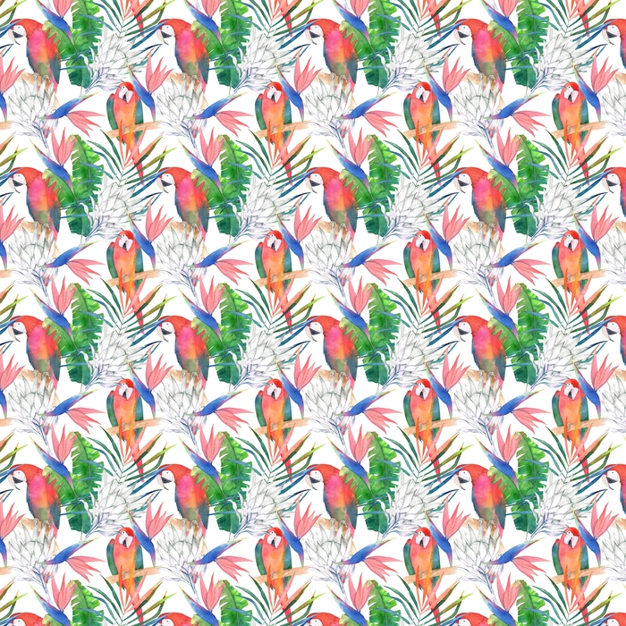 Tropical seamless pattern with parrots, protea and leaves. Watercolor summer print. Exotic hand drawn illustration Washable custom-made wallpaper - Graphic Resources