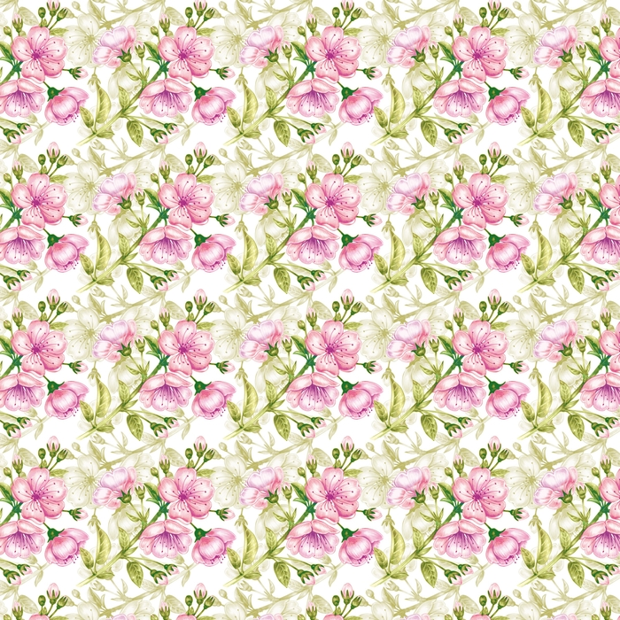 Vector seamless pattern with cherry blossom. Washable custom-made wallpaper - Food