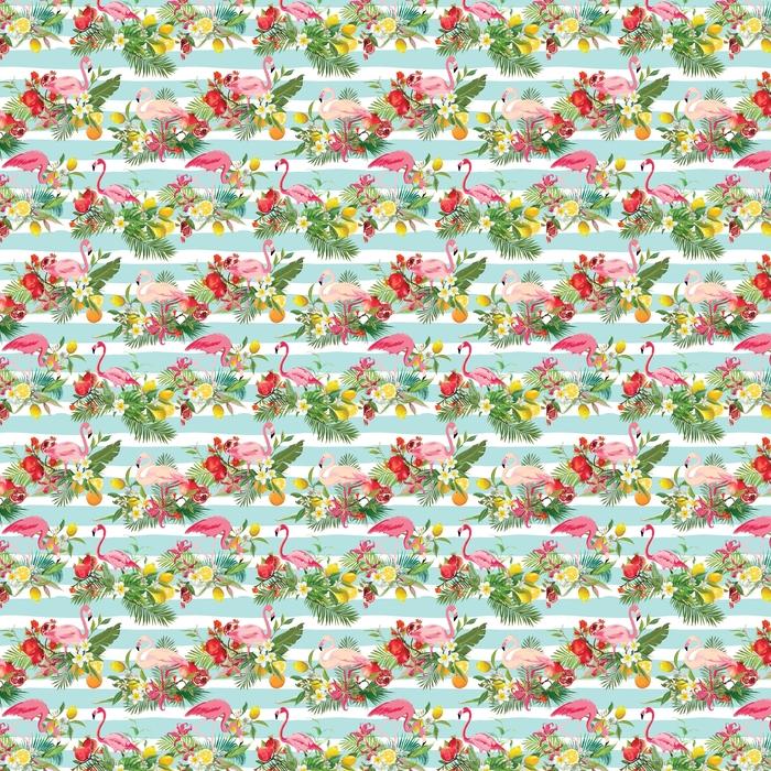 Tropikalne owoce, kwiaty i ptaki flamingo bezszwowe tło. retro letni wzór w wektorze