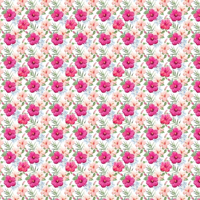 Abwaschbare Tapete nach Maß Aquarell tropischen Hibiskus Muster - Pflanzen und Blumen
