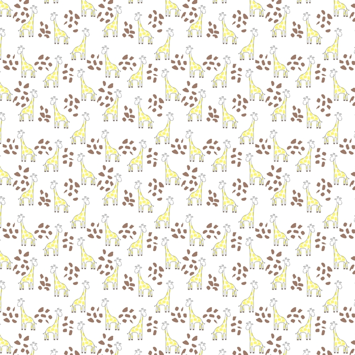 Seamless cute giraffe pattern. Vector doodle background for kid design. Washable custom-made wallpaper - Animals