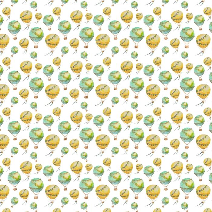 Wzór balonów z koszami malowane w akwarela