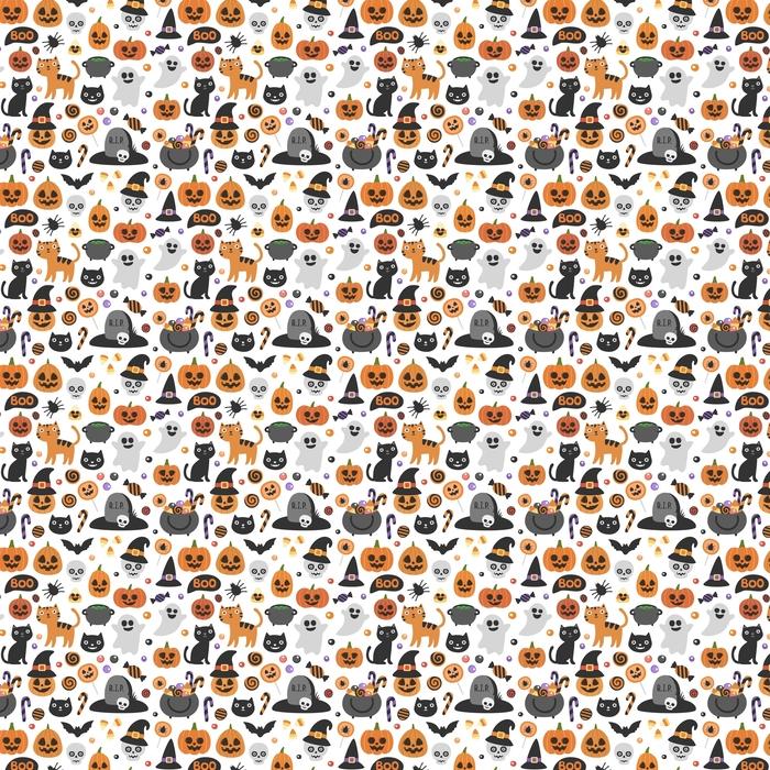 Vector lindo patrón transparente de halloween. personajes de dibujos animados sonriente y divertido: calabaza, fantasma, gato, murciélago, tarro de caramelos. papel de regalo, fondo de pantalla, fondo que se repite