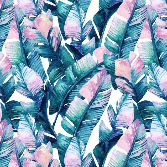 Afwasbaar behang, op maat gemaakt Aquarel bananenblad naadloze patroon. - Bloemen en Planten