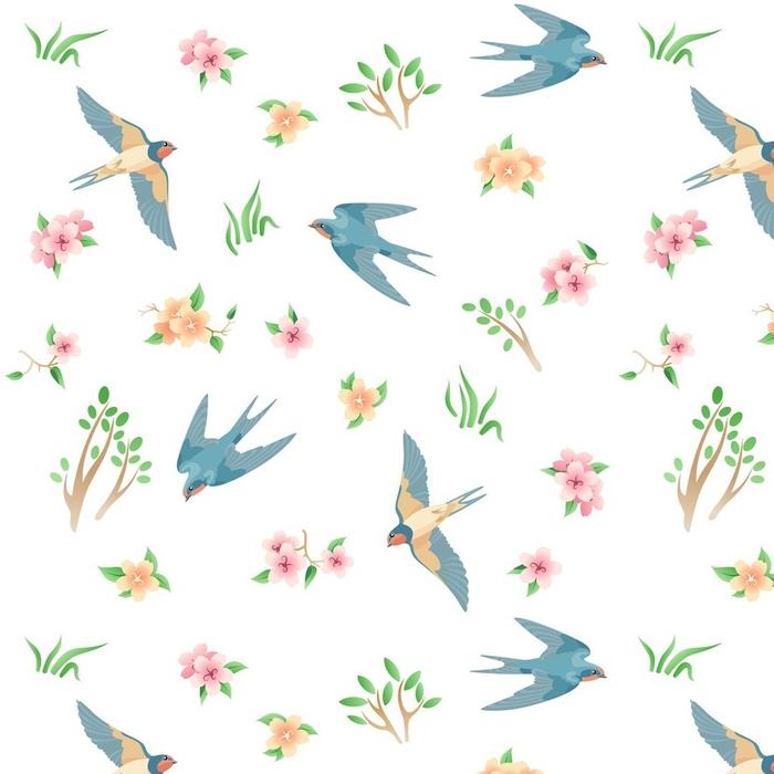 Papier peint lavable sur mesure Modèle sans couture avec les oiseaux et les fleurs de printemps / il y a quelques hirondelles volantes, herbe, fleurs roses et jaunes - Animaux