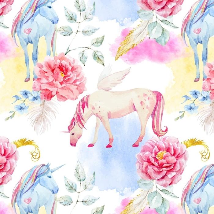 Afwasbaar behang, op maat gemaakt Aquarel vector eenhoorn en pegasus patroon - Dieren