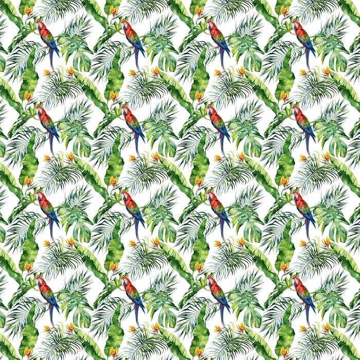 Ilustración acuarela transparente de hojas tropicales, selva densa. loro guacamayo escarlata. flor de strelitzia reginae. pintado a mano. patrón con motivo trópico de verano. hojas de palma de coco