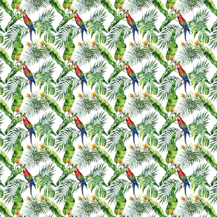 Seamless watercolor illustration of tropical leaves, dense jungle. Scarlet macaw parrot. Strelitzia reginae flower. Hand painted. Pattern with tropic summertime motif. Coconut palm leaves. Washable custom-made wallpaper - Graphic Resources