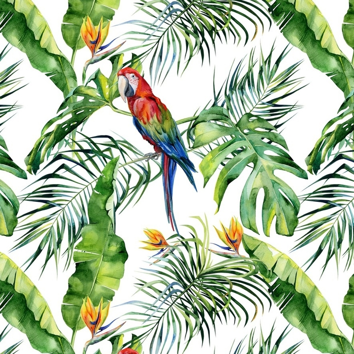 Afwasbaar behang, op maat gemaakt Naadloze aquarel illustratie van tropische bladeren, dichte jungle. Geelvleugelara papegaai. strelitzia reginae bloem. hand geschilderd. patroon met tropisch zomermotief. kokosnoot palmbladeren. - Grafische Bronnen