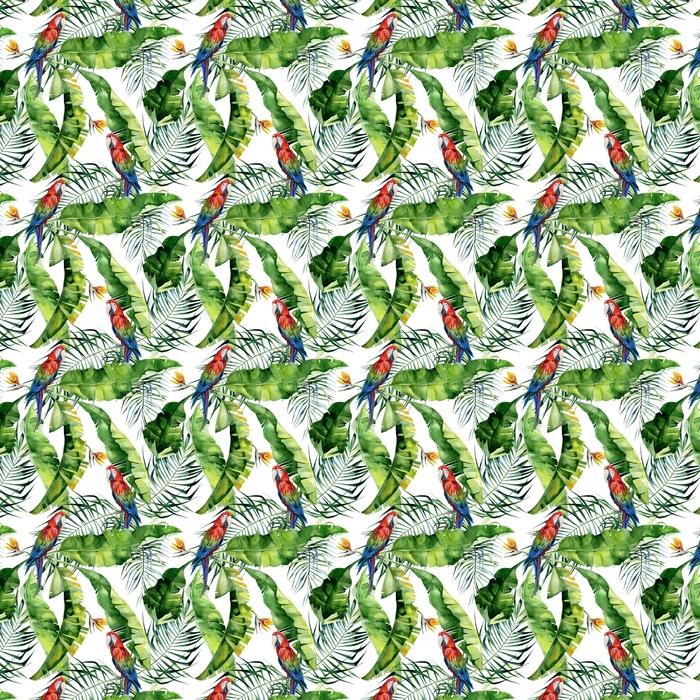 Sömlös vattenfärg illustration av tropiska löv, tät djungel. scarlet macaw papegoja. strelitzia reginae blomma. handmålad. mönster med tropisk sommartid. kokospalmblad.
