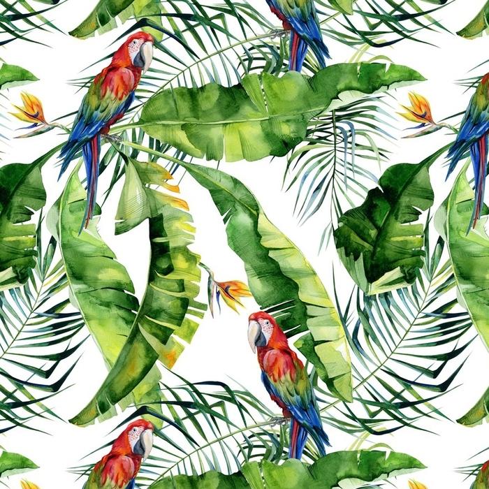 Papier peint lavable sur mesure Illustration aquarelle transparente de feuilles tropicales, jungle dense. perroquet macaw écarlate. strelitzia reginae fleur. peinte à la main. modèle avec motif tropique d'été. feuilles de cocotier. - Ressources graphiques