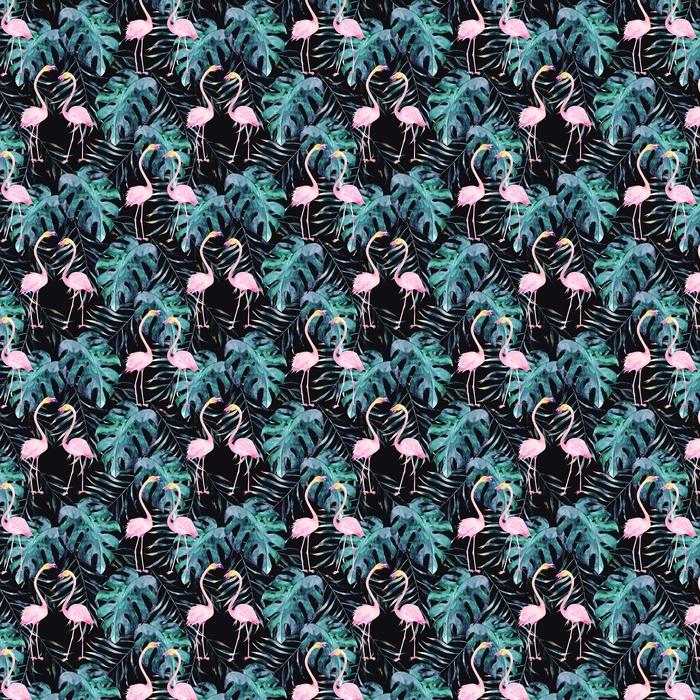 Abwaschbare Tapete Aquarell nahtlose Muster. tropischer Druck mit Flamingo. von Hand gezeichnete Illustration - Grafische Elemente
