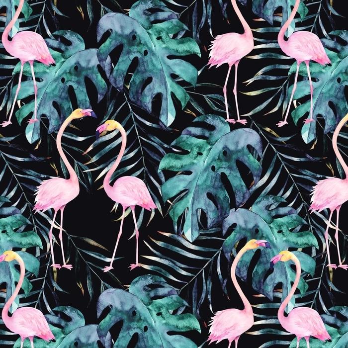 Afwasbaar behang, op maat gemaakt Aquarel naadloze patroon. tropische print met flamingo. handgetekende illustratie - Grafische Bronnen
