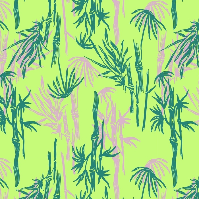 Afwasbaar behang, op maat gemaakt Bamboe naadloze tropische patroon op exotische limoen groene achtergrond. tropisch Aziatisch plantenbehang, chinese of japanse aard textieldruk. - Bloemen en Planten