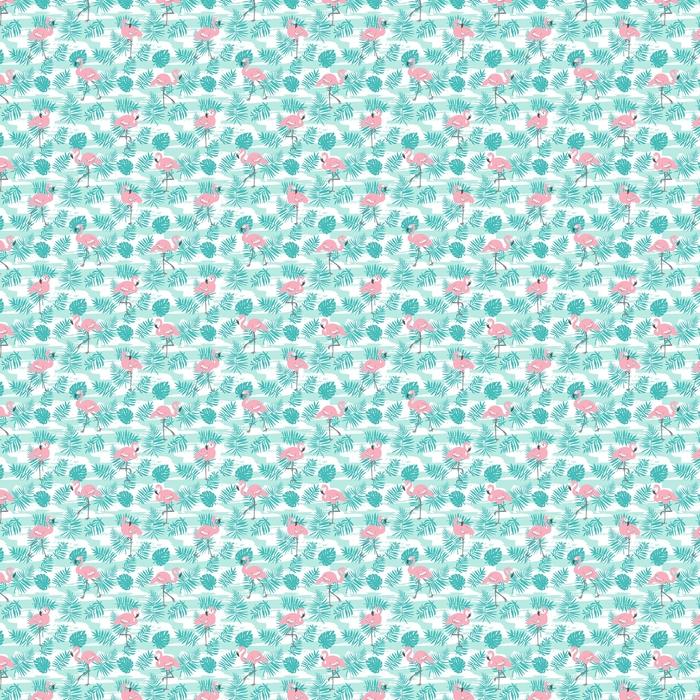Patrón transparente tropical con flamencos rosados y hojas de palma verdes. diseño vectorial para tela, papel de envoltura o papel tapiz. Fondo de arte hawaii exótico.