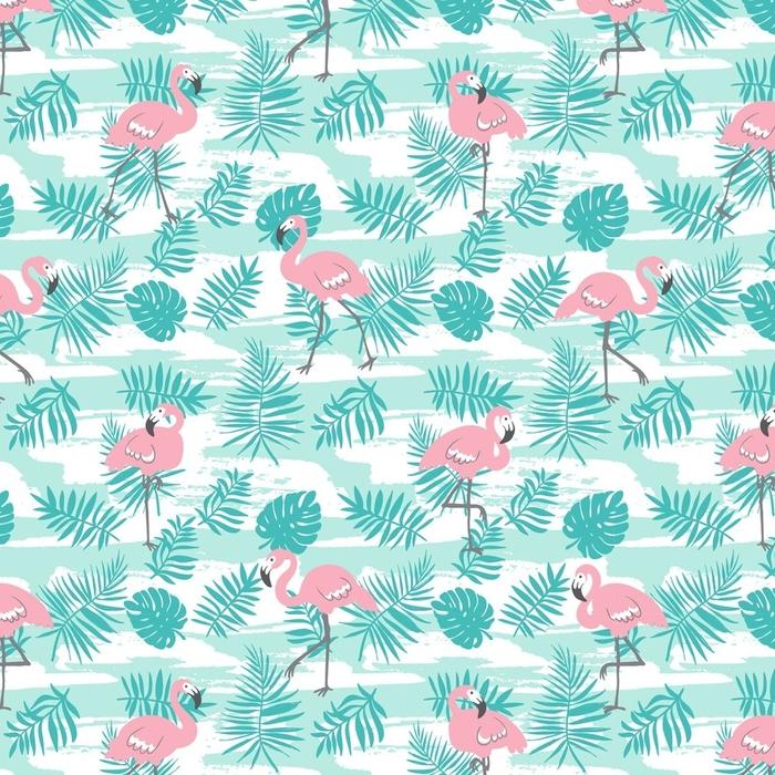 Afwasbaar behang, op maat gemaakt Tropisch naadloos patroon met roze flamingo's en groene palmbladen. vectorontwerp voor stof, omslagpapier of behang. exotische Hawaï kunst achtergrond. - Grafische Bronnen