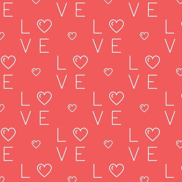 Afwasbaar behang, op maat gemaakt Liefde patroon naadloos, tekst liefde en harten op een rode achtergrond. dunne lijn kunst ontwerp, platte vectorillustratie - Grafische Bronnen