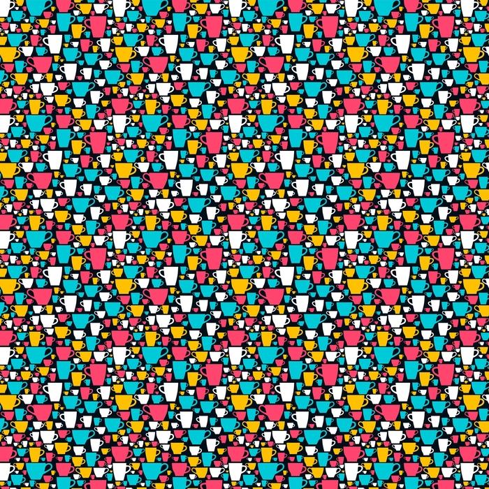 Sin patrón con tazas de café de colores. ilustración vectorial