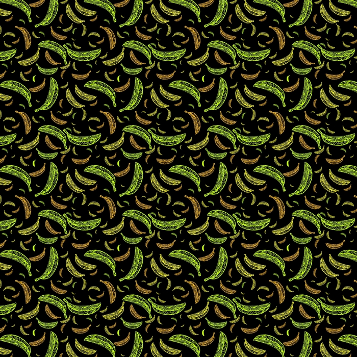 Seamless pattern with bananas on a black background. Vector illustration EPS and swatch for fabric or wrapping Washable custom-made wallpaper - Food