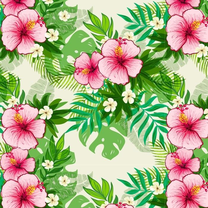 Afwasbaar behang, op maat gemaakt Naadloze exotische patroon met tropische bladeren en bloemen. - Bloemen en Planten