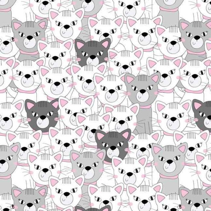 Afwasbaar behang, op maat gemaakt Schattig katten kleurrijke naadloze patroon achtergrond - Dieren