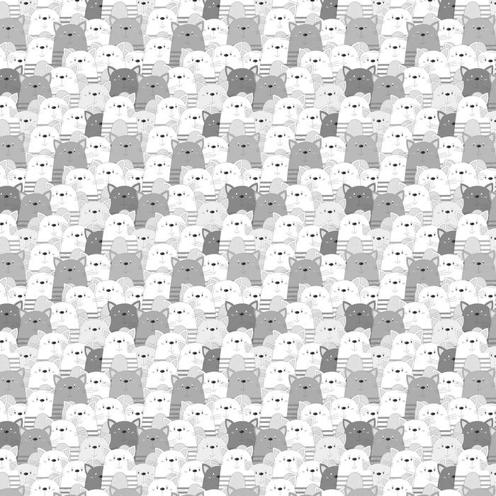 Abwaschbare Tapete Süße Katzen bunte nahtlose Muster Hintergrund - Tiere