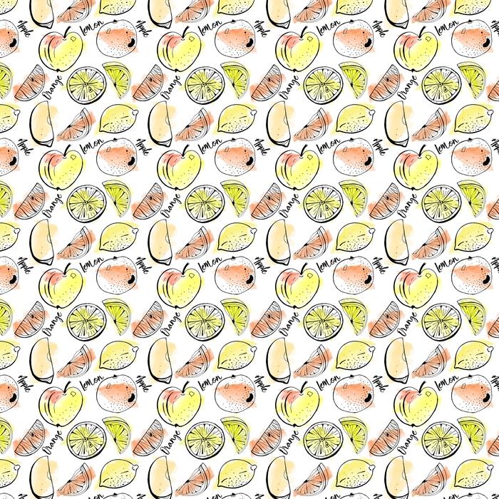 Patrón transparente de vector de dibujado a mano manzana, naranja, limón con rodajas sobre fondo de acuarela. cubierta, diseño de impresión.