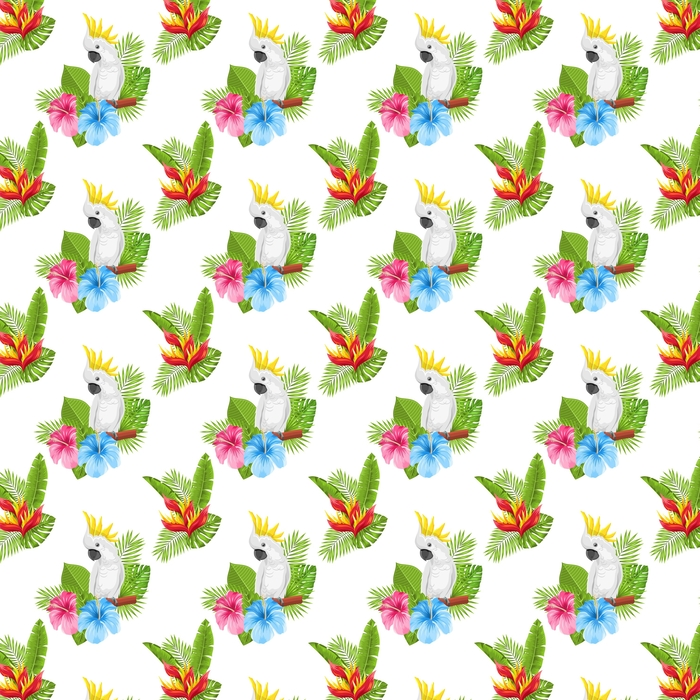 Bezszwowe egzotyczny wzór z papuga Kakadu i tropikalnych liści i kwiatów
