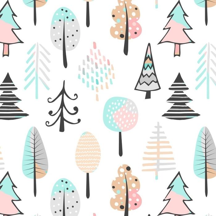 Papier peint lavable sur mesure Joli modèle sans couture avec arbre. illustration vectorielle dessinés à la main. fond avec des éléments abstraits. - Passe-temps et loisirs