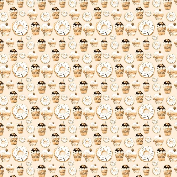 Dulce de patrones sin fisuras con tortas, donas y helados. fondo apetitoso para el diseño de menú, invitaciones, páginas de un libro de cocina. maravillosa impresión para papel de regalo, tela, azulejos, fondo de pantalla