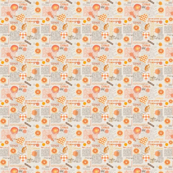 Motivo di sfondo senza soluzione di continuità. imitazione di giornale mezzitoni con agrumi e arance.