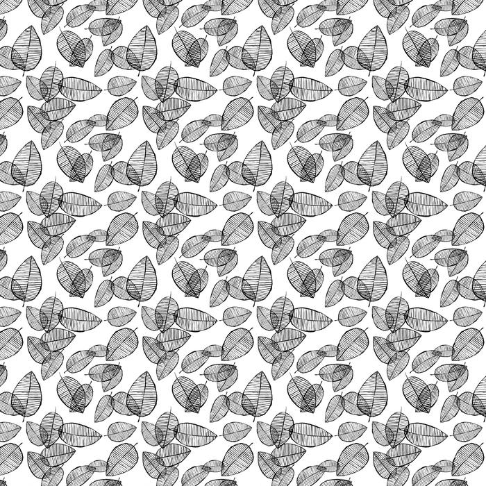 Vektor sømløs disposisjon forlater mønster. svart og hvit bakgrunn laget av akvarell, blekk og markør. trendy skandinavisk designkonsept for mote tekstil utskrift. natur illustrasjon.