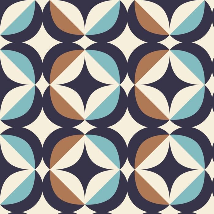 Afwasbaar behang, op maat gemaakt Naadloos retro patroon in Skandinavische stijl met geometrische elementen - Grafische Bronnen