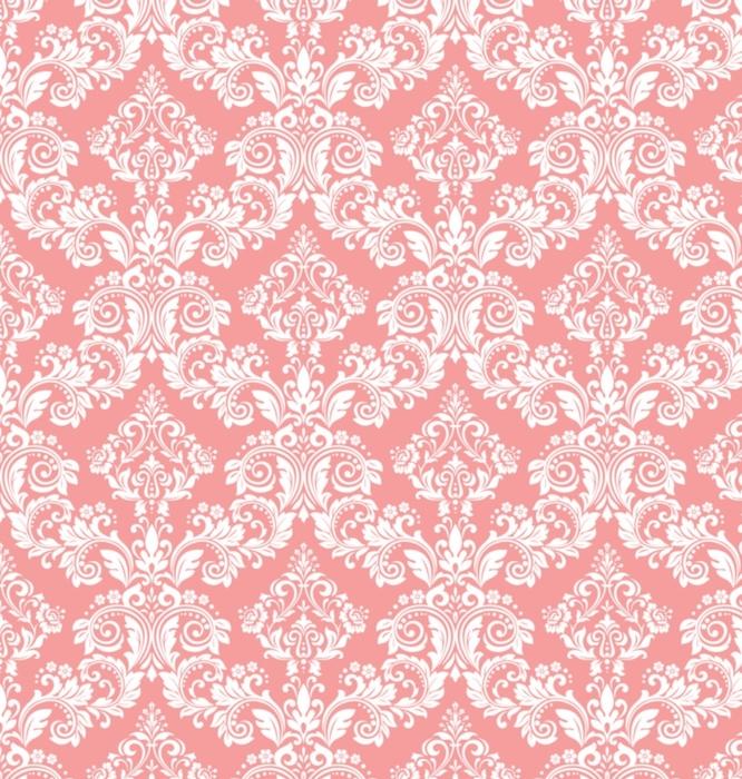Afwasbaar behang, op maat gemaakt Behang in de stijl van barok. een naadloze vector achtergrond. wit en roze bloemenornament. grafisch patroon voor stof, behang, verpakking. sierlijke damast bloem ornament - Grafische Bronnen