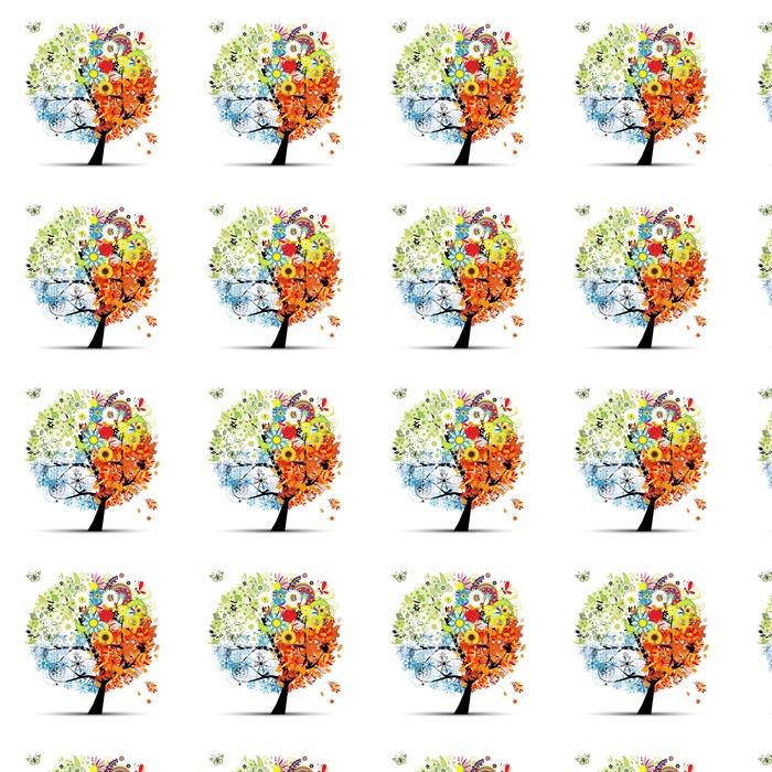 Cztery pory roku - wiosna, lato, jesień, zima. Drzewo sztuki